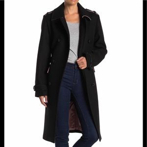 Kate Spade Double Breasted Black Wool Coat XS XL